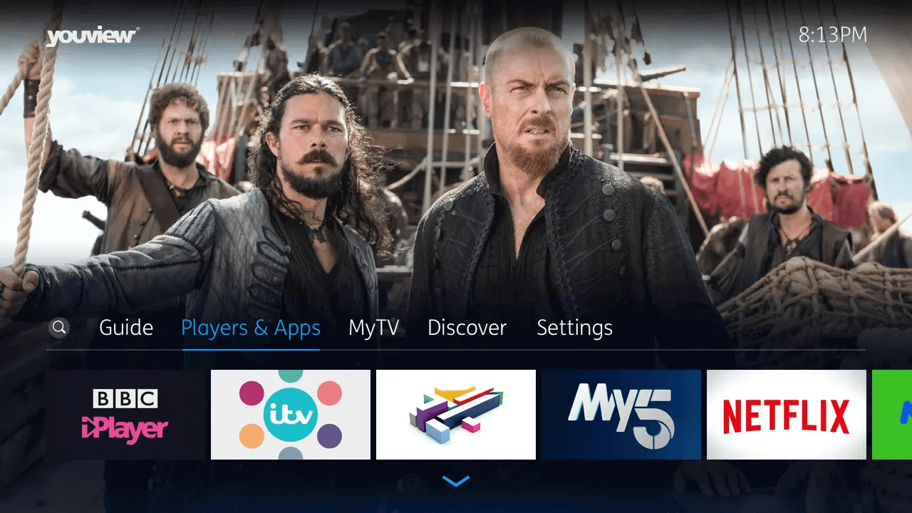 YouView Main Menu players image