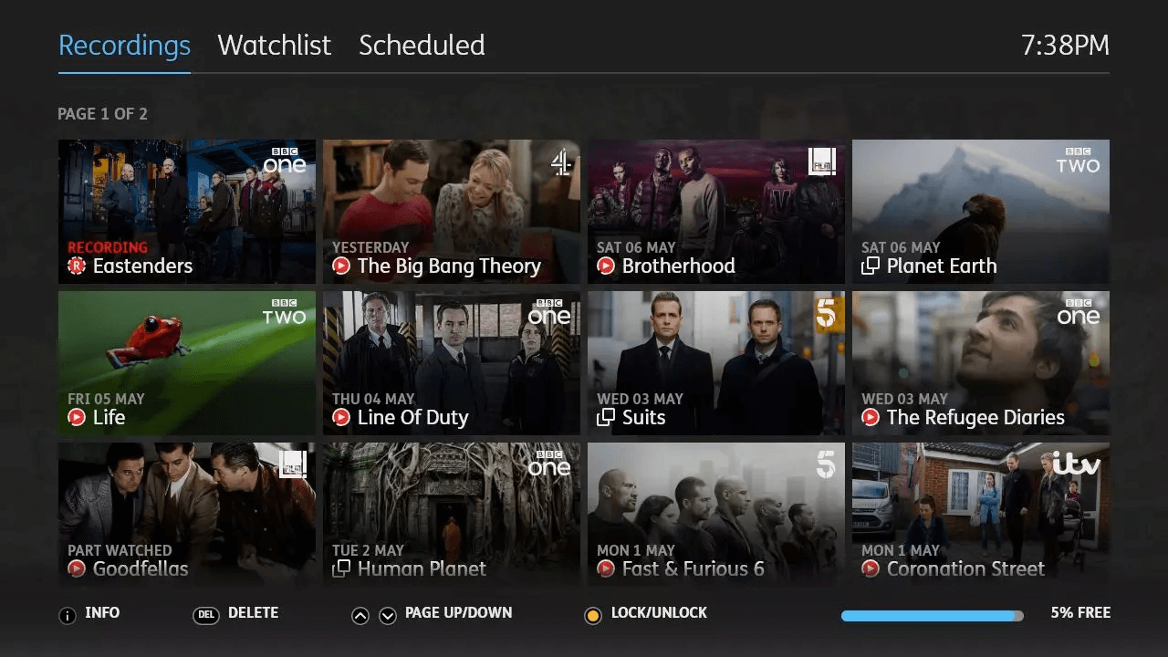 YouView MyTV Recordings TalkTalk Skin image