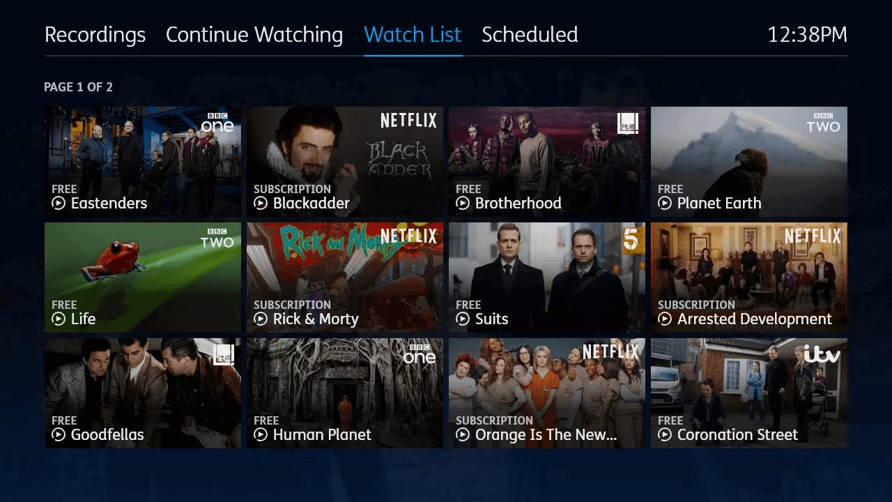 YouView MyTV Watchlist image